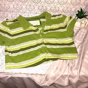 Medium ladies green striped polo top like new